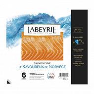 Labeyrie saumon Atlantique fumé de Norvège 6 tranches 215g