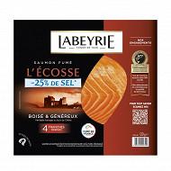 Labeyrie saumon Atlantique d'écosse fumé au bois de chêne -25% sel 4 tranches 120g
