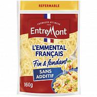 Entremont sachet zip d'emmental français râpé 45%mg 160g