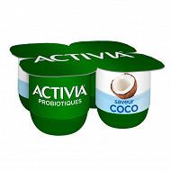 Activia bifidus saveur noix de coco sans arôme artificiel 4x125g