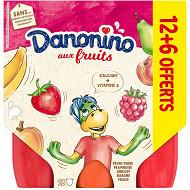 Danonino aux fruits panaché 12x50g +6 offerts