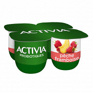 Activia bifidus fruits pêche framboise 4x125g