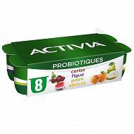 Activia fruits panaché abricot poire figue mûre framboise 8x125g