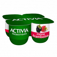 Activia bifidus fruits mûres framboise 4x125g