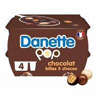 Danette pop 3 chocos et billes soufflées 4x120g