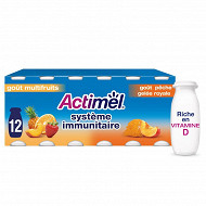 Danone Actimel lait fermenté à boire goût multifruits et pêche 12x100g