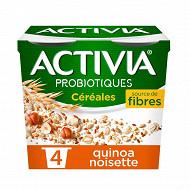 Danone Activia bifidus spécialité laitière au quinoa et aux noisettes 4x120g