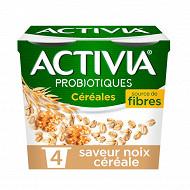 Danone Activia bifidus spécialité laitière saveur noix céréale 4x120g