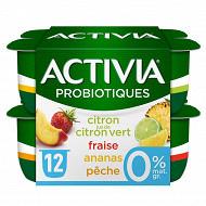 Danone Activia 0% lait fermenté au bifidus aux fruits et au jus de fruit 12x125g