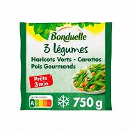Bonduelle mélange 3 légumes vapeur haricots verts pois gourmands carottes 750g