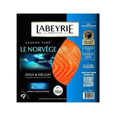 Labeyrie Labeyrie saumon fumé de Norvège 2 tranches 75g