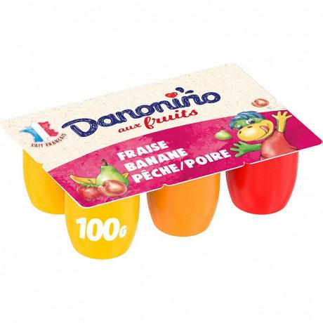 Danonino fruits fraise pêche poire banane 6x100g