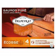 Delpeyrat Le saumon fumé origine Ecosse 4 tranches 120g