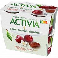 Activia sans sucre ajouté cerise datte jasmin 4x115g