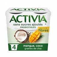 Activia sans sucre ajouté mangue coco chia 4x115g