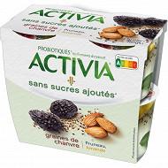 Activia sans sucre ajouté pruneau amande chanvre 4x115g