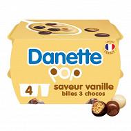 Danette pop saveur vanille 3 chocos 4x117g