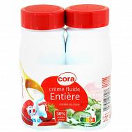 Cora crème fluide entière stérilisée UHT 30% mg bouteille lot 2x25cl