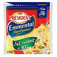 Président emmental râpé sel réduit de 30% 150 g