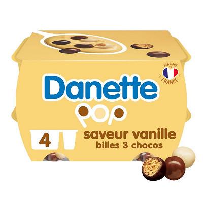 Danone Danette pop saveur vanille 3 chocos 4x117g