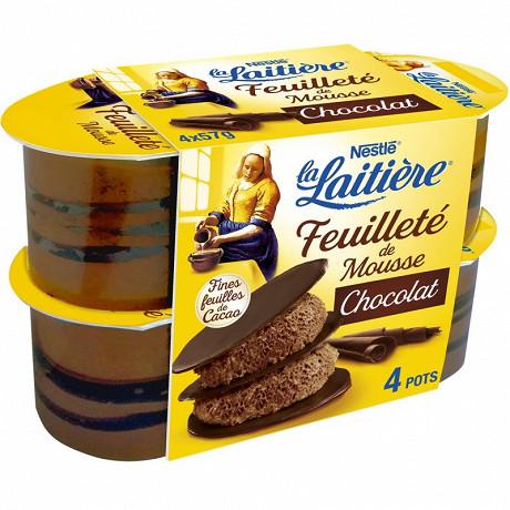 La Laitière feuilleté de mousse chocolat 4x57g