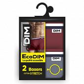 Lot de 4 boxers ecodim fashion ROUGE CAMELIA/GRIS SOURIS T4