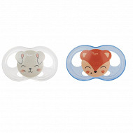 2 sucettes silicone taille 6-18 mois ourson chat Tigex