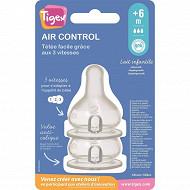 Lot de 2 tétines silicone + 6 mois lait/eau air control col étroit Tigex