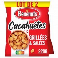 Bénénuts cacahuètes grillées délicatement salées  2x220 G