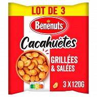 Bénénuts cacahuètes grillées salées 3x120g