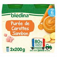 Bledina pots purée de carottes jambon 2x200g