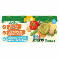 Bledina pots légumes viandes / saumon / riz poulet 8x200g