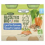 Récoltes bio pots carottes poireaux épeautre saumon 2x200g