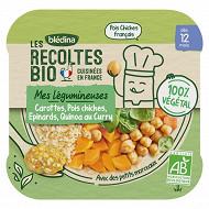 Récoltes bio plat carottes/pois chiches/épinards/quinoa curry 12m 230g