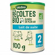Bledina les récoltes bio lait de suite 2ème âge de 6 à 12 mois 800g