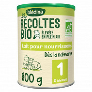 Bledina les récoltes bio lait pour nourissons 1 er âge de 0à 6 mois 800g