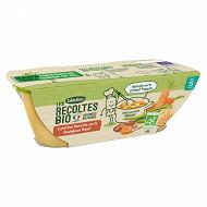 Blédina les récoltes bio carotte haricot boulghour boeuf 15M 2x200g