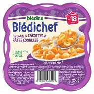Bledichef farandole de carottes et pâtes coquilles dès 18mois 250g
