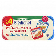 Blédina blédichef fondue de légumes lieu/légumes du soleil et volaille basquaise 2x250g