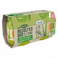 Bledina les récoltes bio haricots verts/pdt 4/6 M 2x130g