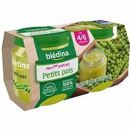 Blédina pots 2x130g Petits Pois Dès 4/6 mois