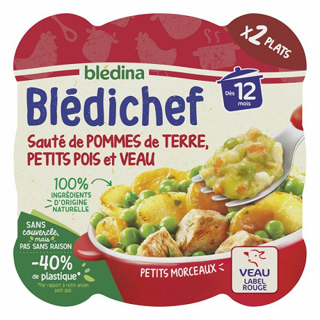 Blédichef sauté de pomme de terre petits pois et veau dès 12 mois 2x230g