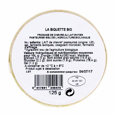 La biquette bio 125g  lait pasteurisé