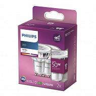 Philips ampoule LED classic 50W GU10 WH 36D non dimable boite de 2