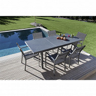 Terria table cerise 160/210x100 cm effet ton pierre