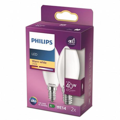 Philips ampoules led classic flamme 40W B35 E14 WW FR ND RF boîte de 2
