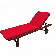 Coussin bain de soleil 185x55 cm épaisseur 5 cm rouge dm
