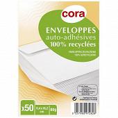 Cora 50 enveloppes auto adhésives 114x162