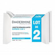 Diadermine lingettes demaquillantes 3 en 1 lot de 2