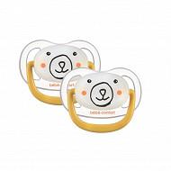 2 sucettes physio air confort phospho silicone 6-18 jaune bear Bébé Confort
